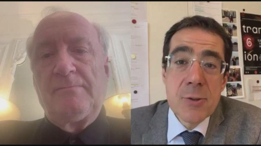 Hubert Védrine en interview avec RTS Info